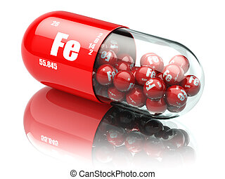 Pills with iron FE element Dietary supplements. Vitamin...