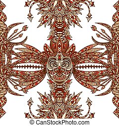 seamless pattern with tribal mask