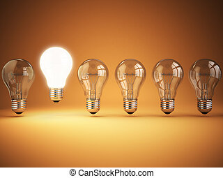 Idea or uniqueness, originality concept. Row of light bulbs with glowing one on orange background,