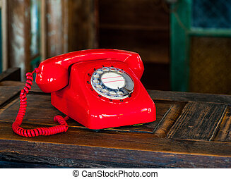 Vintage rotary red telephone