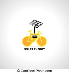 solar energy  - bicycle start with solar energy vector