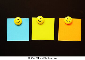 empty paper and smilie - smilie or smily with empty sheet of...