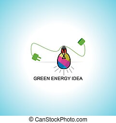 green energy concept with bulb vector
