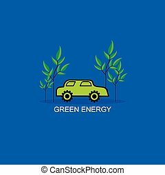 green energy concept with car vector