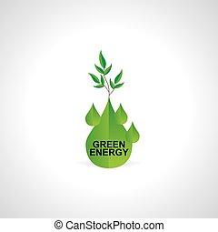 green energy fuel drop vector