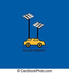 solar panel with car vector illustration