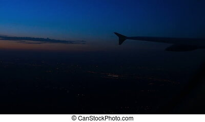 Night Flight - View from the airplane after taking off late...