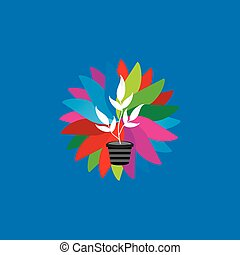 plant pot over colorful abstract vector illustration