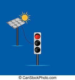 solar panel connecting with red signal