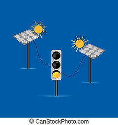 solar panel connecting with yellow signal vector