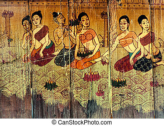 Traditional Thai style art stories and religion on wood...