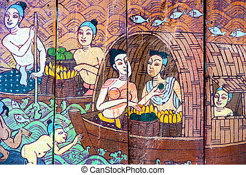 Traditional Thai style art stories of religion - Traditional...