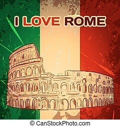 poster with Colosseum - Vintage poster with Colosseum on the...