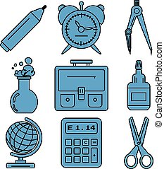 Black school goods linear icons. Part 1.