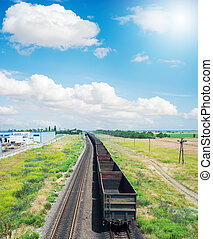 empty wagons on railroad under clouds in blue sky