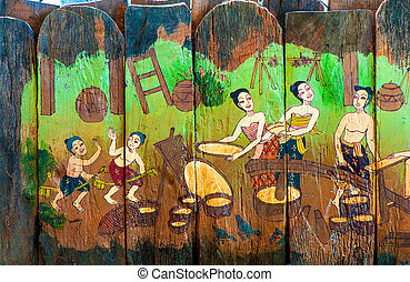 Traditional Thai style art stories of religion on wood...