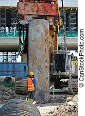 Bore pile steel casing install at the construction site in...