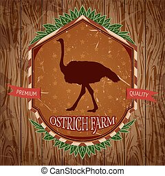 vintage label with ostrich