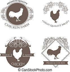 Set chicken and rooster farm logo