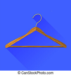 Coat Hanger Icon Isolated on Blue Background Long Shadow