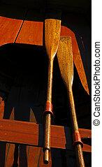 Vintage Wooden Boat Sun Paddles - Vintage wooden boat in...