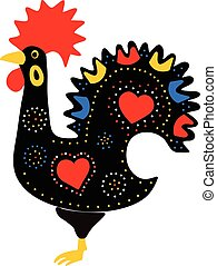 Rooster - Black folk stylized rooster
