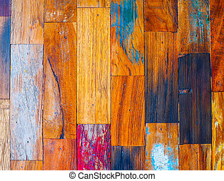 Colorful stylish old wooden parquet staves texture...