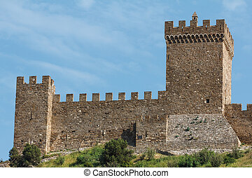 ancient fortress wall and blue sky - Ancient fortress,...
