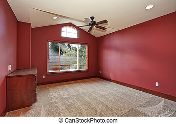 Big unfurnished room with red interior. - Large unfurnished...
