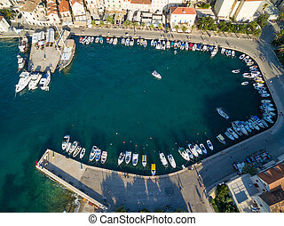 Supetar harbour - Aerial view of the harbour of Supetar, on...