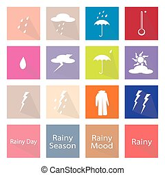 Illustration Set of 16 Rainy Season Flat Icon - Illustration...