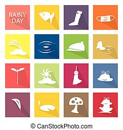 Illustration Set of 16 Rainy Season Icon - Illustration...