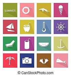 Illustration Set of 16 Summer Season Icon - Illustration...