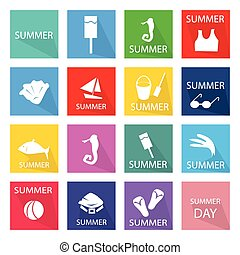 Illustration Set of 16 Summer Season Icon - Illustration...