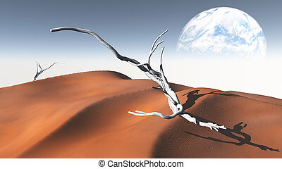 Red  Sand  Desert with Terraformed Moon or earth from terraformed moon or exoplanet
