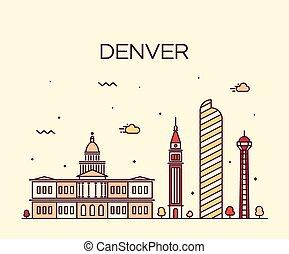 Denver skyline trendy vector illustration linear - Denver...
