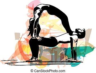 Yoga couple illustration