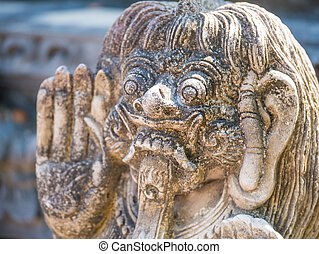 Stone sculpture on entrance door of a temple - Stone...