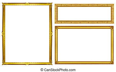collection golden frame isolated on white background, clipping path