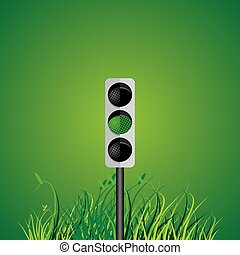traffic signal with green grass vector