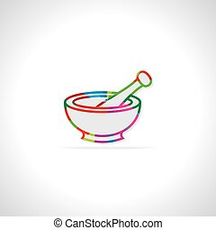 mortar and pestle - colorful mortar and pestle vector...