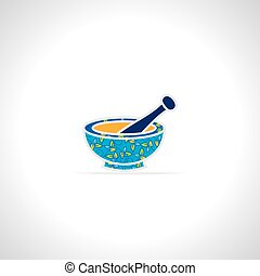Mortar and pestle - creative mortar and pestle vector...