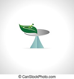 leaf and pestle on the table vector illustration