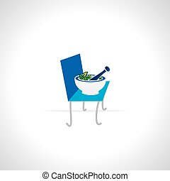 mortar and pestle over chair vector illustration