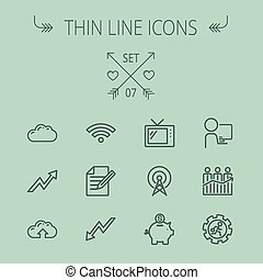 Business thin line icon set for web and mobile. Set...
