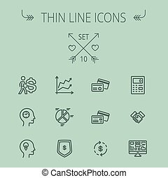 Business thin line icon set for web and mobile Set includes-...
