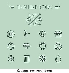Ecology thin line icon set for web and mobile Set includes-...