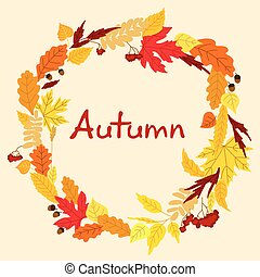 Decorative colorful autumn leaves frame - Colorful autumn...