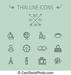 Education thin line icon set for web and mobile Set...