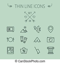 Travel thin line icon set for web and mobile. Set includes-...